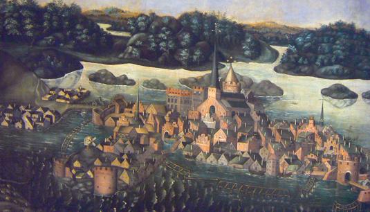 """""""Vädersolstavlan"""" målades 1535 på uppdrag av Olaus Petri av Urban målare. Då såg staden ut som den gjort under den sena medeltiden."""