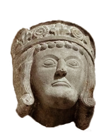 Detta skulpterade huvud på en pelare i Varnhems kyrka anses representera Birger Jarl. Hertigkronan stämmer och den ovanligt kraftiga hakan återfinns också på kraniet i graven nedanför.
