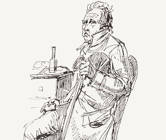 Bellman tar sin morronsup. Teckning av Sergel.