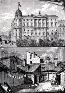 Bort med gamla kåkar och in med hyrespalats i berlinerbarock! Nu ska Stockholm se ut som en kontinental storstad! Detta ståtliga hus vid Kungsträdgården föll offer för nästa mode vid mitten av 1900-talet: Bort med Berlinerbarock och in med Östberlin!