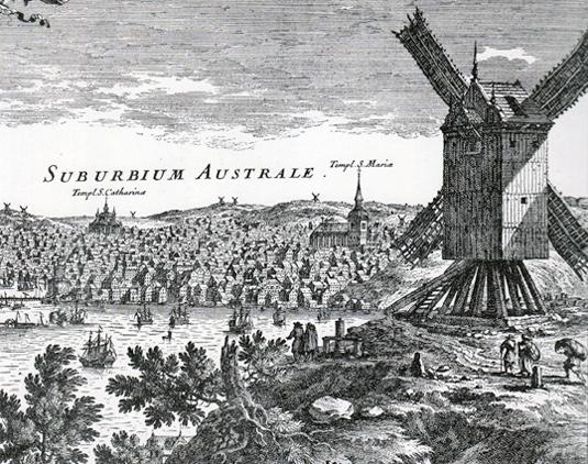 Från Kungsholmen ser man på detta kopparstick av Erik Dahlberg hur bebyggelsen brett ut sig över stora delar av Södermalm.