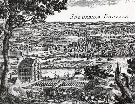 Från Kungsklippan blickar vi här ut över Klara sjö och Norrmalm i slutet på 1600-talet. Brunkeberg reser sig förtfarande högt över bebyggelsen. Kungsholmen hade en lantlig prägel och där låg många av stormännens malmgårdar omgivna av förnämliga trädgårdar. Vi ser en nere vid stranden till vänster.