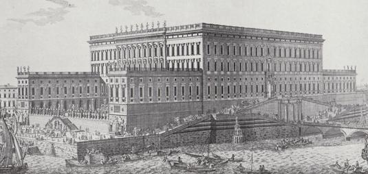 Så här var det tänkt att bli – innan det nya Kungliga slottet i Stockholm byggdes. Och i förenklad form var det också så det såg ut när det stod indlyttningsklart 1754.