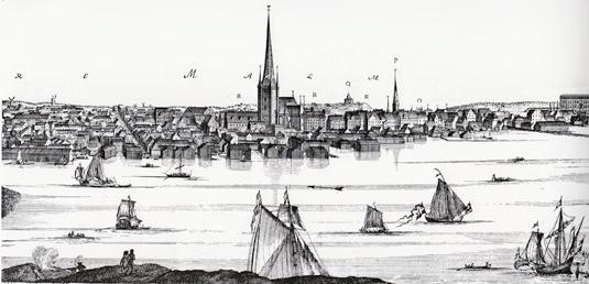 Stockholm från Kungsholmen som det såg ut vid 1700-talets början. Klara sjö i förgrunden är idag bara en liten kanal. I strandkanten där vi ser magasin och sjöbodar ligger idag järnvägsspåren och Centralen.