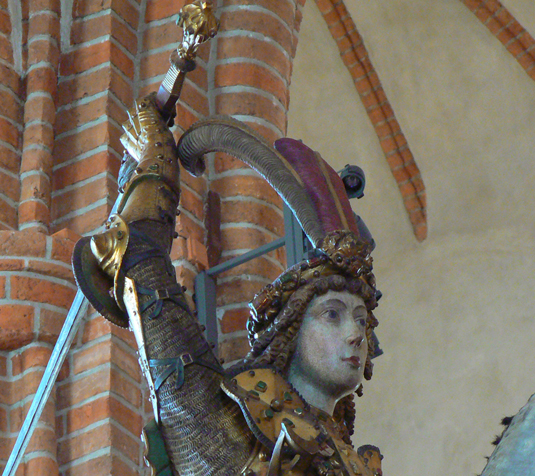 Den idealiske  riddaren Sankt Göran. Men är det också ett porträtt av Sten Sture som han i alla fall ska symbolisera.