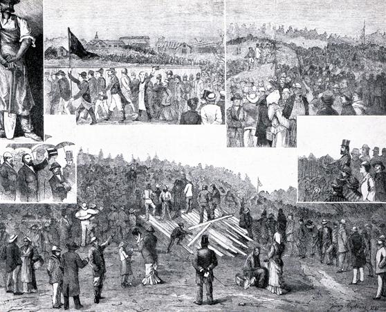 Arbetarna förbjöds att ha offentliga möten i staden. I stället samlades man som här på bilden från 1881 i Liljansskogen