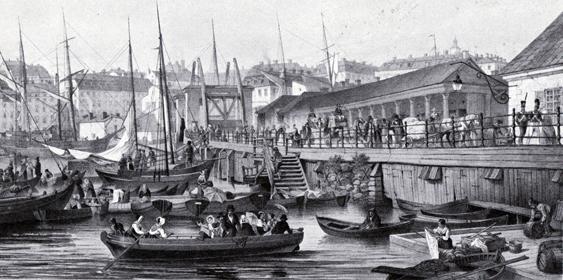 Slussen fylld av liv och aktivitet år 1850. Fortfarande anas den gamla polemska slussen med sina holländska bommar i bakgrunden.