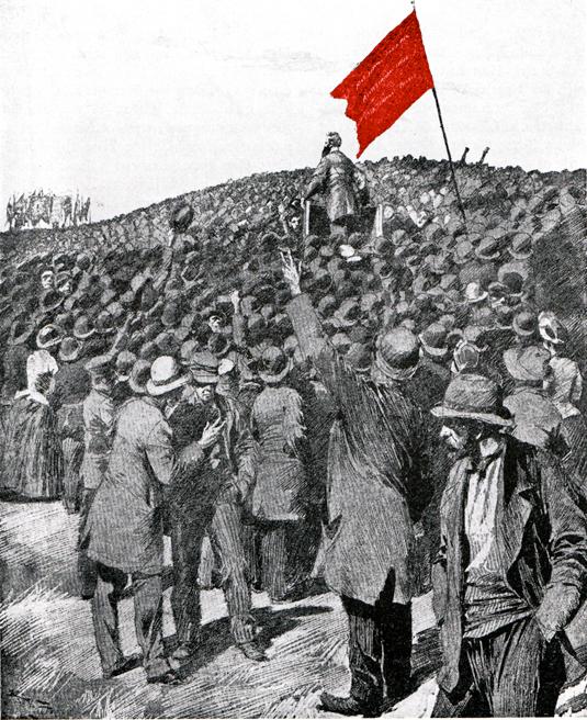 Den första socialdemokrtiska förstamajdemonstrationen på Ladugårdslandsgärdet 1890. August Palm i talarstolen kräver allmän rösträtt och åttatimmarsdag. Marschen mot makten har inletts.