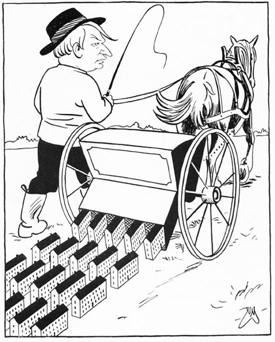 De offentligt subventionerade funkislimporna sås ut över landskapet av socialminister Gustav Möller (s). (Teckning av Nils Melander i SvD 1939)