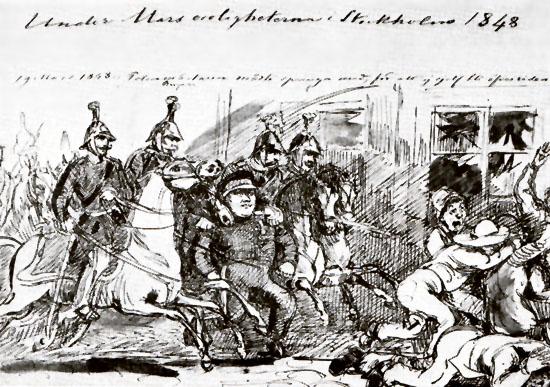 Polismästaren springer för att ej sjelf blifva överriden. Upploppen saknade inte komiska inslag. Den föga heroiske polismästaren omgiven av kavalleri stormar mot kvinnor och barn. Teckning av Fritz von Dardel, den store samtidsskildraren.