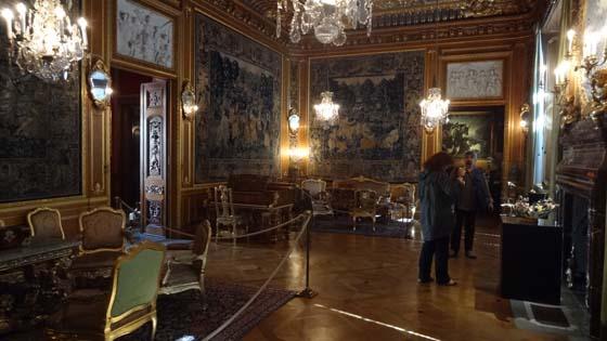 Varje kvadratcentimeter av palatsets  väggar är bearbetad av stenhuggare och träsnidare, förgyllare och plafondmålare. Stora salongen är möblerad med svenska 1700-talsmöbler i rokoko och har en specialtillverkad Steinwayflygel..