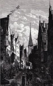Gata med bodar i medeltidens Stockholm som en sentida illustratör föreställt sig den. I bakgrunden syns Storkyrkans torn.