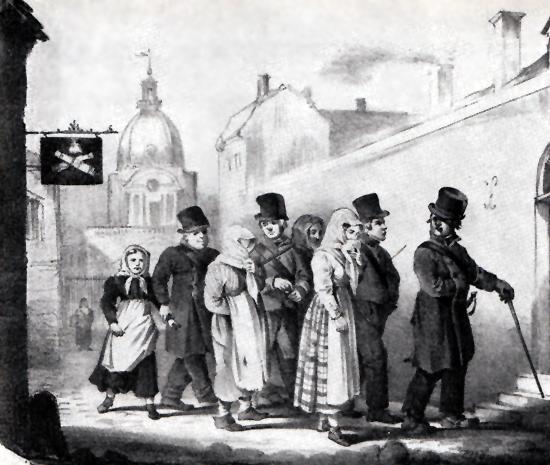 Prostituerade kvinnor grips av polisbetjänter s.k. paltar och förs till spinnhuset för straffarbete 1807. Spinnhuset var i funktion långt in på 1800-talet.