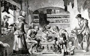 En skomakares verkstad och bod i Stockholm som en 1800-talsillustratör föreställde sig den. Boden sköts här av hustrun genom öppningen i väggen mot gatan.