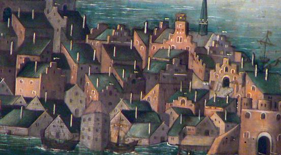 Röda tegelhus med trappgavlar och vitmenade skorstenar dominerar staden som vi kan se på denna detalj från Vädersolstavlan. Borgare var den som ägde ett hus. I bottenvåningen låg oftast en verkstad eller en butik.
