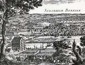 Lantliga idyllen Kungsholmen, med ett förnämt lantligt residens med formell trädgård. I bakgrunden Norrmalm, eller Norra förstaden som den hette då. Den stora vattenytan har idag krympt till den smala Klarastrandskanalen.