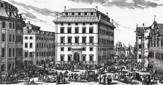 Nikodemus Tessin ritade byggnaden i romersk barock. Den tunga fasaden skulle motsvara bankens motto: Hinc Robur et Securitas. Styrka och säkerhet.