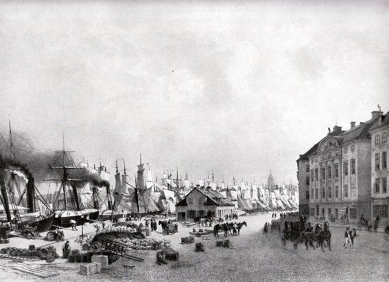 Skeppsbron omkrig 1860 när ångfartygen började tränga undan segelfartygen. Huset till vänster ser likadant ut idag.