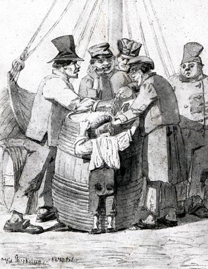 """""""Sup på Skeppsbron"""" kallas denna tidningsteckning från tidigt 1800-tal. Vintunnor var en viktig importvara och tjänade bra som tillfällig ståbar."""