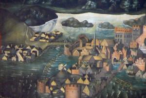 Till vänster på bilden ser man träbron från stadsholmen till den enkla platsen och stigarna i sanden uppåt åsen. De enkla träbyggnaderna skulle kunna brännas ner. Detalj från Vädersolstavlan kopia efter ett original från 1500-talet.