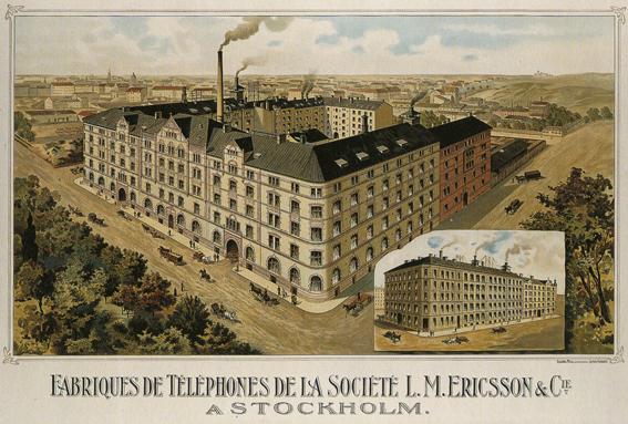 Snart fyllde Ericssons första fabrik vid Tulegatan hela kvarteret. Bild från 1896