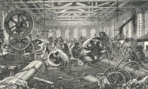 Interiör från Bolinders verkstad på Kungsholmen  som de tedde sig i slutet på 1800-talet.