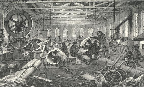 Interiör från Bolinders verkstad på Kungsholmen  som de tedde sig i slutet på 180-talet.