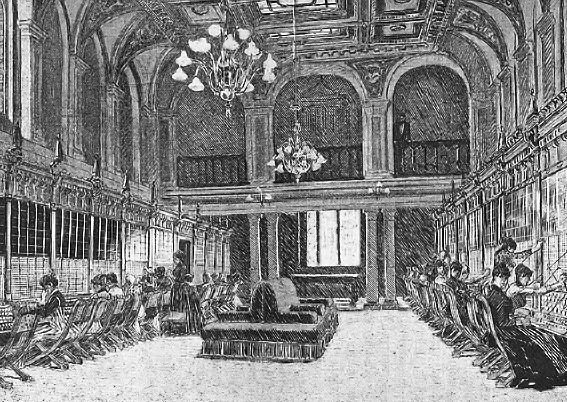 Brunkebergskontorets eleganta växelhall där ett halvtannat tjog telefonfröknar satt vid ingenjör Lars Magnus Erikssons banbrytande telefonväxlar.