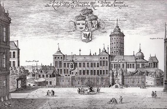 Västra porten var huvudinfarten till Tre Kronor och maktens absoluta centrum i Sverige. Här ligger idag Slottets yttre borggård vyn är tagen från dagens Storkyrkobrinken. En liten flisa av Storkyrkan kan ses längst till höger i bilden.