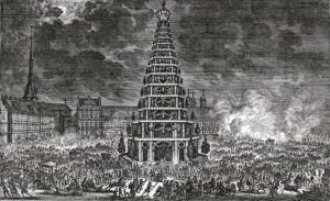 När Karl XI tillträdde tronen 1660 anordnades en stor fest för folket på dåvarande Norrmalmstorg, nu Gustav Adolfs torg. Husen i bakgrunden ligger på Operans nuvarande plats.