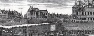 Karl X:s liktåg 1660. Från borgen Tre kronor gick tåget via slottsbacken här längs Skeppsbron och Stora Nygatan till Riddarholmskyrkan. Det var den kortvariga stormaktens sista manifestation av denna omfattning vid en kunglig begravning.