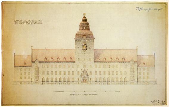 Att hitta på en nationell stil för tävlingsförslaget till nytt rådhus i Stockholm var inte så lätt. På landet fanns den röda stugan. Men i stan? Det fick bli en modifierad vasaborg á la Vadstena